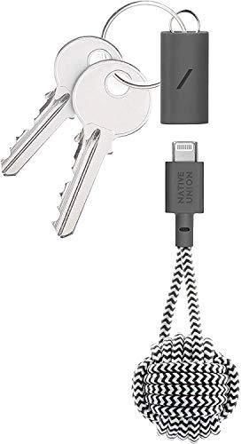 Native Union Key Cable USB-C a Lightning - Resistente Cable de Carga Lightning a USB con Llavero [con Certificado MFi] Compatible con iPhone/iPad (Cebra)