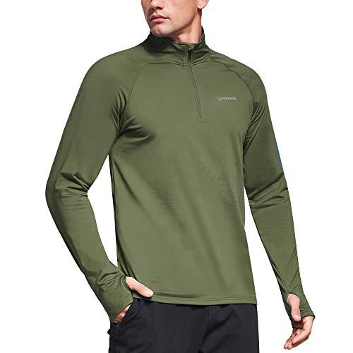 Ogeenier Womens Microfleece Long Sleeve Running Shirt with Thumbholes Zipper Pockets 1//4 Zip Pullover