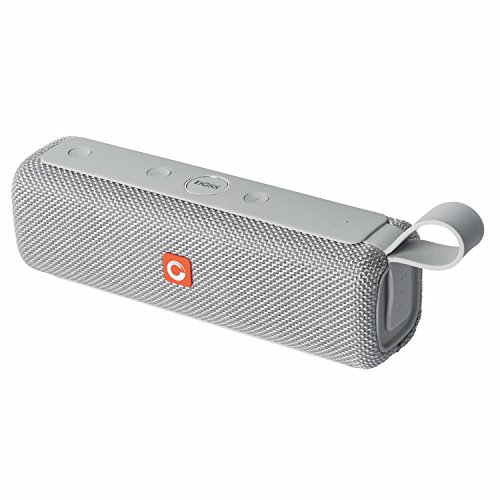 DOSS E-go II Portable Bluetooth Speakers with Superior Sound and Extra Bass, IPX6 Waterproof, Built-in Mic, 12W Driver, 12-Hour Playtime, Wireless Speakers for Phone, Computers, TV and More - (Grey)