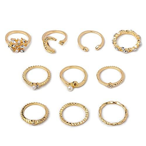 Prosy Set di anelli in cristallo boho con paillettes, a mezzaluna, a forma di stella, a forma di cuore, opale, per donne e ragazze (stile D)