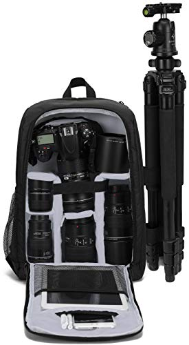 MUMAIS Canada Style 2021 New Made Camera Backpack Compatible(Sony Canon Nikon) Waterproof Shockproof Photographer Camera Bag with Tripod Holder for DSLR,Mirrorless Camera,Oxford Fabric (Gray)