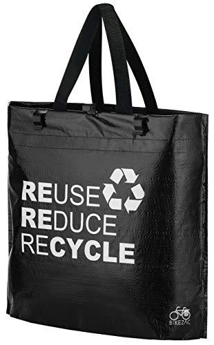 BikeZac praktische Einkaufstasche faltbar | Gepäckträgertasche Fahrrad | Einkaufsfahrradtasche | Einkaufswagen Tasche | E-Bike Shopper | Recycling | Folding Shopping Bag | Black Recycle