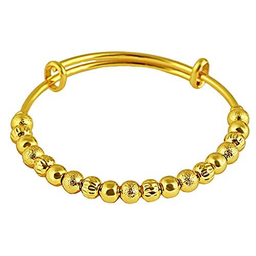 Pulseras de transferencia de pulsación Pulseras de arena de oro, pulseras de latón chapado en oro, accesorios de moda Pulseras para damas para boda de joyas de color de larga duración, joyería de recu