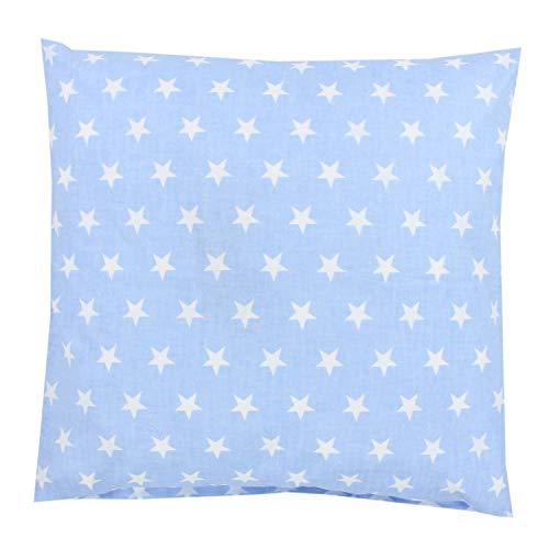 TupTam Federa per Cuscino con Motivi per Bambini, Stelle Bianco/Azzurro Chiaro, 40 x 40 cm