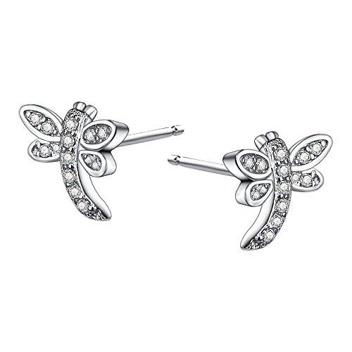 AoedeJ Aretes de cristal con libélula Pendientes de plata de ley 925 con circonita cúbica Joyas para mujeres (Estilo 2)