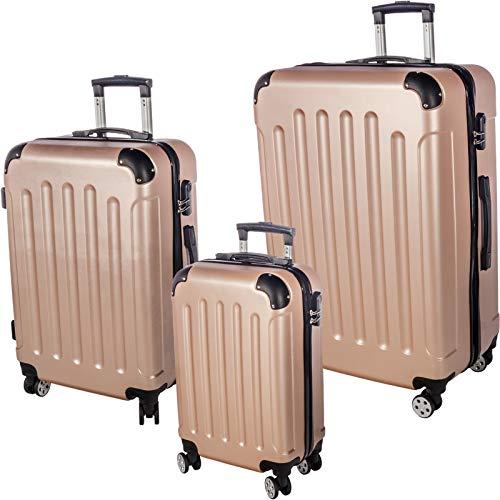 Smartfox 3-teiliges Set Hartschalenkoffer Trolley Rollkoffer Reisekoffer Gepäck mit Zahlenschloss und 4 Zwillingsrollen Größe L/M/XL in Champagner