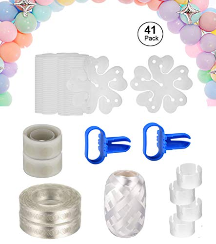 Balloon Arch Garland Decorating Strip Kit -2 Rolls Balloon Decorating Strip, 2pcs Balloon Tying Tool, 2 Rolls 100 Dot Glue, 30pcs Flower Clips 4pcs Ring Clips for Party Supplies Decorations (41 Pack)