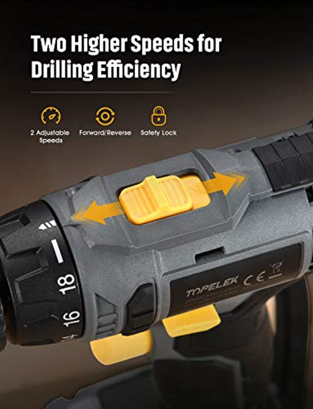 TOPELEK 20V Cordless Drill 1500 Lithium-ion Battery Drill Driver, Drill Kit with 27pcs Accessories, LED, 2-speeds, 18+1 Torque Settings