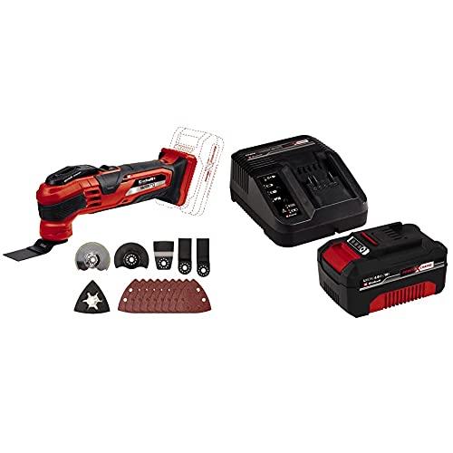 Einhell VARRITO Herramienta Sin Cable Multifunción 0 W, 18 V, Negro/Rojo Set de 14 Piezas + 4512042 Kit con Cargador y batería de repuest, tiempo de carga: 60 Minutos