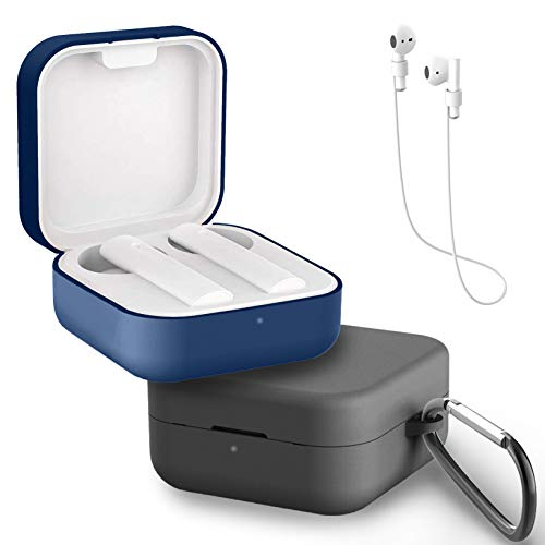 Yoowei [2-Pack] Funda Compatible con Xiaomi Air 2 SE y Mi True Wireless Earphones 2 Basic, 3in1 Protectora de Silicona Funda + Cable de Auriculares + Gancho de Msetal, Negro + Azul Medianoche