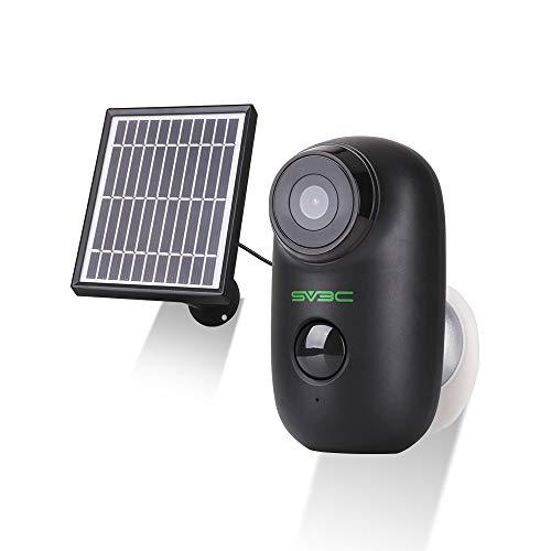 SV3C AKKU WLAN Überwachungskamera+ Solarpanel,1080P Kabellose WiFi IP Kamera Outdoor mit wiederaufladbarer Batterie, PIR Bewegungsmelder, 2-Wege-Audio, IR Nachtsicht für innen und außen