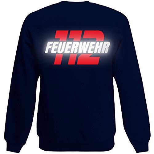 Shirt-Panda Herren Feuerwehr Sweatshirt · Feuerwehr 112 · Feuerwehrmann Sweater Bedruckt · Pullover für Feuerwehrleute · Druck auf Brust & Rücken · Unisex · Dunkelblau (Druck Rot/Reflex) 3XL