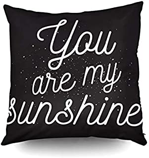 KIOAO Mudcloth Pillow Covers Standard Pillow Cases 20X20Inch Soft Outdoor Square Throw Pillowcase Covers You are My Sunshine Inscription Greeting Card Calligraphy Photo Printed with Both Sides