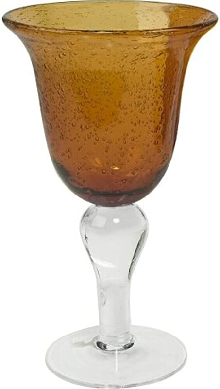 Artland Iris Seeded Amber Glass 14 Ounce Goblet Set Of 6