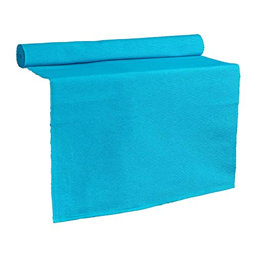 Nicola Spring Camino de Mesa - Se Puede Lavar - Algodón Acanalado - Azul - 183 x 48cm