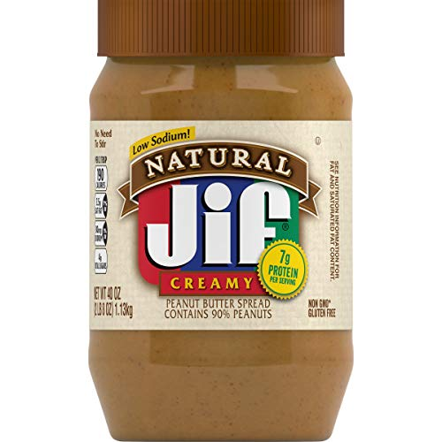 Jif Natural Creamy Peanut Butter, 40 Ounces, 7g (7% DV) of Protein per Serving, Smooth, Creamy Texture, No Stir Natural Peanut Butter