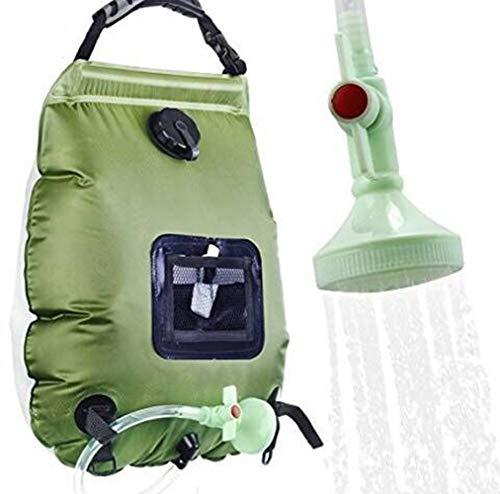 Campingdusche Solardusche Tasche, 20L Tragbare Solar Gartendusche Outdoor Warmwasser Dusche Reisedusche mit Duschkopf, Schlauch, Griffstange und Seil zum Aufhängen