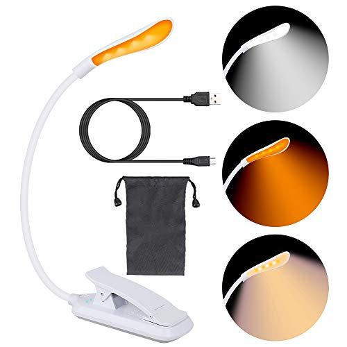 Leselampe Buch Klemme, 7 LED Bernsteinfarbene Augenschutz Leselampe, 3 Farbtemperatur, Helligkeit Stufenlos Einstellbar, USB Wiederaufladbare LED Buchlampen für Nachtlesen, Büro, Buch, Bett