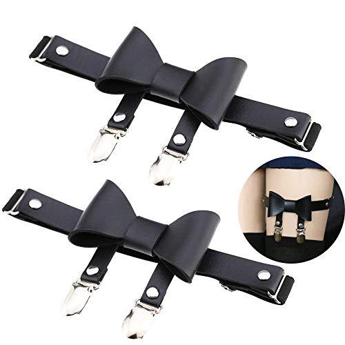 Daimay Leder Strumpfband 2 PCS Oberschenkel Ring Harness Suspender Gothic Gummi Nieten Strapsbänder Verstellbare mit Metallklammern - Schmetterlingsknoten- Schwarz