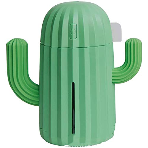 Luchtbevochtiger Cactus 340ml Geen lawaai Automatische uitschakeling zonder water luchtbevochtigers Geschikt voor kinderen gift slaapkamer studie (groen),Green