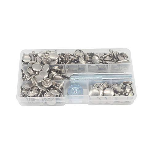 Weddecor 100 Set x 8 mm dubbele cap tuubular klinknagels knoppen zilver gesp befesstiger messing met 3-delig Bevestiging handgereedschap voor knutselwerk leer handwerk, kleding reparatie, vervanging