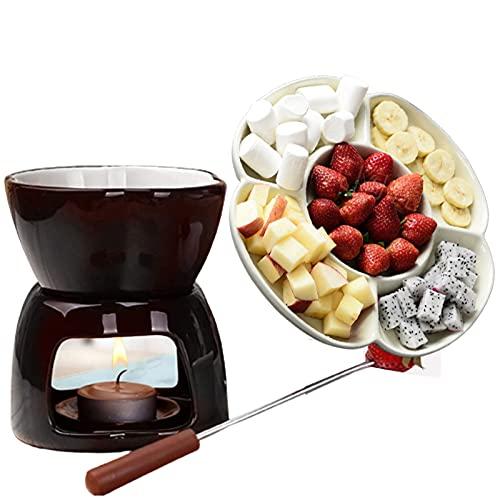 TTXP de Fondue de Chocolate con Bandeja para Fiestas Incluida | Base de Olla de Fusión en Caliente | Mantener La Función Caliente,Brown-OneSize