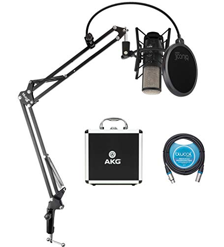 AKG P420 Large-Diaphragm Condenser Microphone for Vocals, Piano, Woodwind, Percussion, and String Instruments Bundle with Blucoil Boom Arm Plus Pop Filter, and 10-FT Balanced XLR Cable