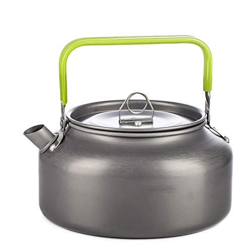 Hoge kwaliteit RVS Camping Kettle for gas, waterkoker Ketel for Camping Aluminium koffiemachine for Outdoor Hiking Theepot Compact en licht met siliconen Grip (Color : Gray, Size : 1.2l)
