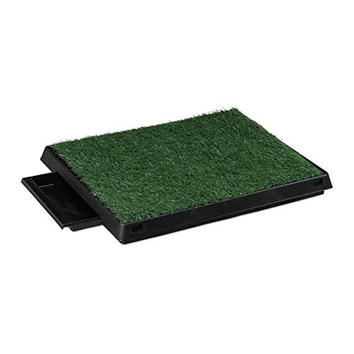 Relaxdays Hundetoilette Rasen, ausziehbare Auffangschale, Indoor, Welpentoilette, HBT 7 x 62,5 x 50 cm, schwarz/grün 1 Stück