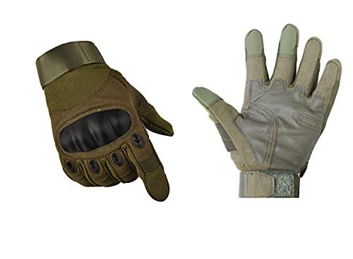 MH Guantes de Moto,3 Colores , diseño Apto para Pantallas de moviles y GPS ,para Ciclismo,Caza,Escalada,Camping..etc (Verde XL)
