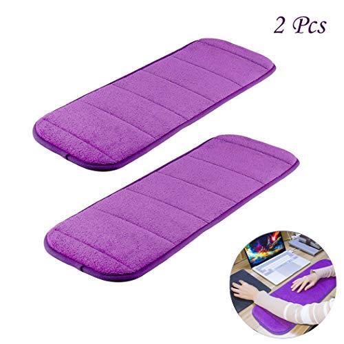 MERYSAN 2Pcs Computer Wrist Elbow Pad, Upgraded Wrist Rest Arm Pad(Soft, Anti-Slip), Keyboard Wrist Elbow Support Mat for Office Desktop Working Gaming - Less Elbow Pain (7.9 x 23.6 inch) (Purple)