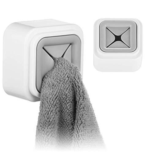 Kitchen Towel Hooks 2 Packs Self-Adhesive Wall Mount Square Gray Dish Towel Holder Towel Stopper Rag Clip Hand Towel Hook Tea Towel Rack Hanger Household for Cabinet Door Bathrooms Kitchen