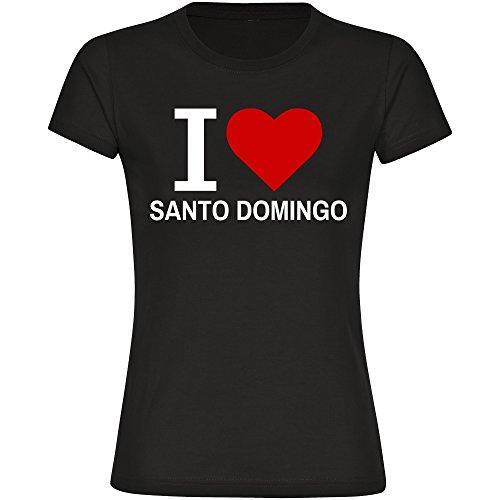 T-Shirt cuello redondo manga corta Classic I Love Santo Domingo para mujer talla S hasta 2XL Negro negro Talla:medium
