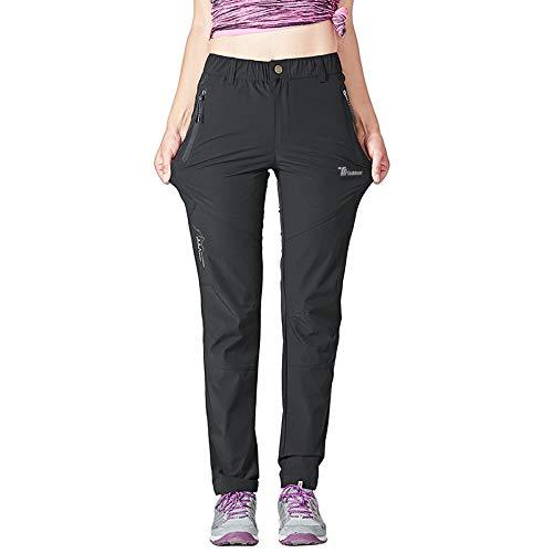 Gopune Women's Outdoor Hiking Pants Lightweight Quick Dry Water Resistant Mountain Trouser, Black, Medium