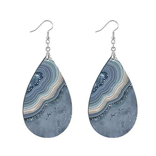 Pendientes de madera de moda gota colgantes ligeros lágrima pendientes forma gota pendiente para las mujeres joyería ágata geoda brillo azul polvoriento