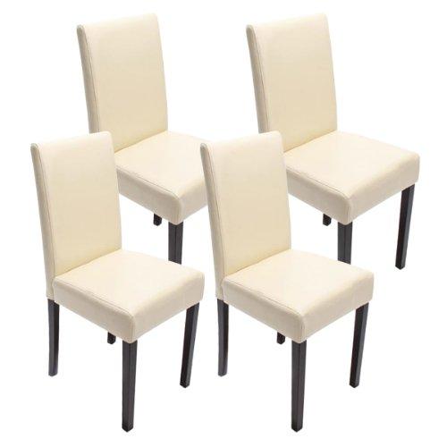 Mendler 4X Esszimmerstuhl Stuhl Küchenstuhl Littau - Kunstleder, Creme dunkle Beine
