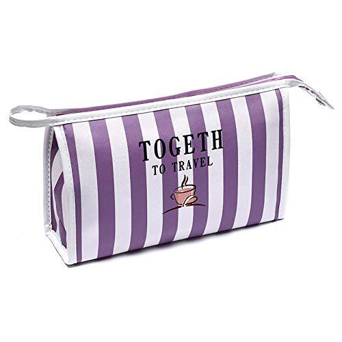 Cosmetic Bag_Handheld Stripe Cosmetic Bag Grande Capacité Travel Waterproof Handbag Square Bag Cosmetics, Purple Stripe