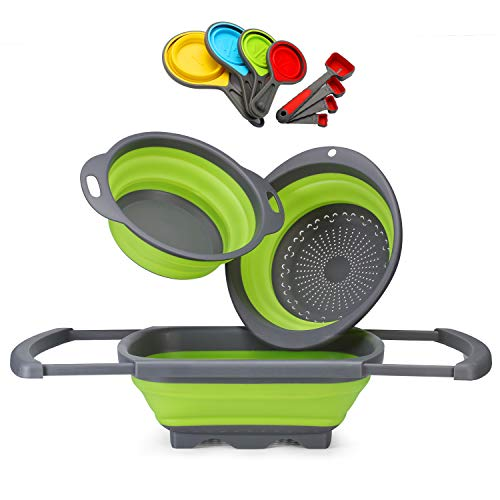 top 10 collapsible measuring cups Glotoch Silicon Folding Sieve, 11 pieces, 6L sink 1 piece, 2 pieces.