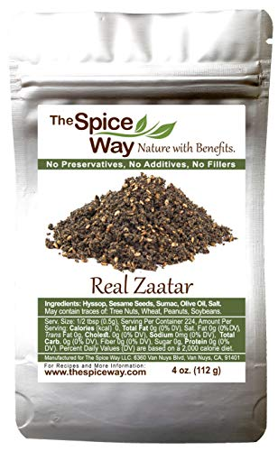 The Spice Way - Real Zaatar with Hyssop spice blend | 4 oz | (No Thyme that is used as an hyssop substitute). With sumac. No Additives, No Perservatives, (Za