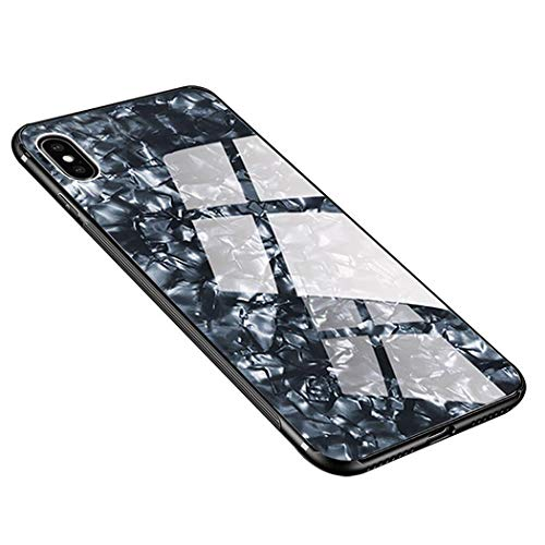 Luhuanx Case Compatible with iPhone X,Tempered Glass Conch Shell Pattern + TPU Frame Hybrid Shell Slim Case for iPhone X,iPhone 10 case(2018) Anti-Scratch Anti-Drop (Black Conch New)