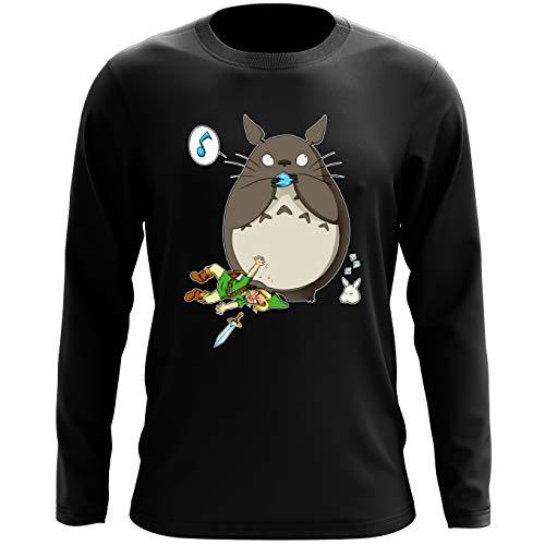 Okiwoki T-Shirt Manches Longues Noir Parodie Zelda - Totoro et Link - Ni Vu ni connu. (T-Shirt de qualité Premium de Taille S - imprimé en France)
