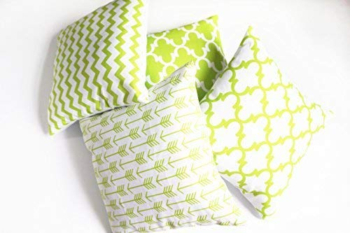 Howarmer Cotton Canvas Green Decorative Throw Pillow Cover,Set of 4,Accent Pattern, 18X18-Inch
