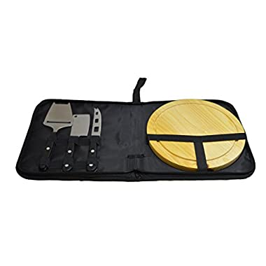Travel Sets 5 Piece Indoor/Outdoor Travel Cheese Cutting Board And Knife Set, Black, 8