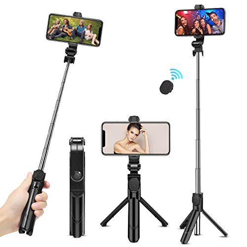 Selfie Stick Tripod, Extendable Bluetooth Selfie Stick Tripod with Remote - Facetime Phone Stand, Wireless Selfie Stick Tripod, Portable Tripod for iPhone, Samsung Galaxy and Huawei and More (Black)