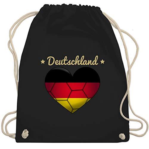 Shirtracer Handball - Handballherz Deutschland - Unisize - Schwarz - deutschland handball - WM110 - Turnbeutel und Stoffbeutel aus Baumwolle