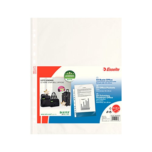 ESSELTE Buste perforate OFFICE - PPL lucido - f.to 22 x 30 cm - 395097000