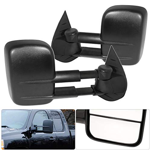 AJP Distributors Telescope Extendable Side View Tow Towing Mirrors Black for Chevy Silverado Surburban Tahoe for GMC Sierra 2007 2008 2009 2010 2011 2012 2013 07 08 09 10 11 12 13 (Manual Mirror)