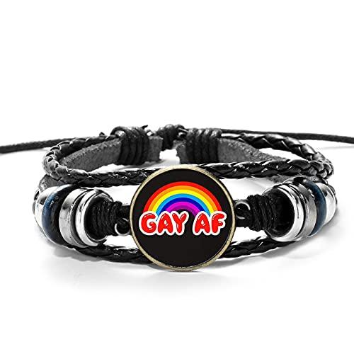 HMANE Pulsera de Cuero con Cruz de Bandera arcoíris, Tema del Orgullo Gay, Tejido con Cuentas Hecho a Mano, Pulseras Negras, Gema de Cristal, joyería LGBT de Moda
