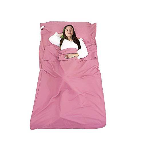 DUTISON Hüttenschlafsack Schlafsack Reiseschlafsack mit Tragetasche Ideal für Hostels, Berghütten und Jugendherbergen Camping Outdooraktivitäte usw (Rosa Pink)