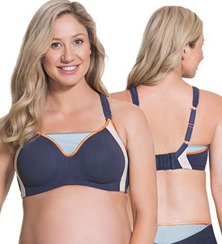 Cake Maternity Women's Nursing Bra With Underwire| Zest Flexi Wire High Impact Sports Racerback Maternity Bra, Blue, 38DD UK/ 38E US
